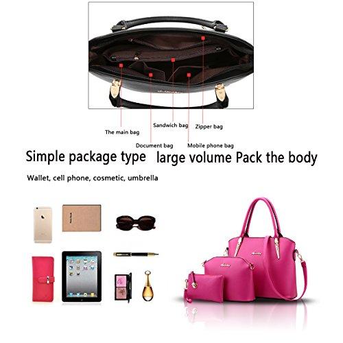 Tisdain Nuovo modello Femminile Borse Moda Stile semplicistico Set di 3 borse Borsa a mano + Borsa messenger + Portafoglio Rose