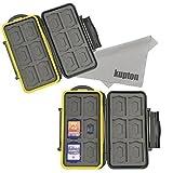 Kupton K020 Case Porta Schede di Memoria Resistente All'acqua Porta Schede di Memoria Protettivo Antiurto: 24 Slots per 12 SDHC / SDXC Card e per 12 Micro SD Card - Pack de 2