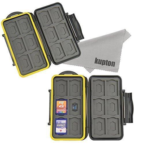 Kupton Speicherkarten tasche Wasserdichtes Schutzbox Stoßfest Tragetasche: 24 Slots für 12 Stück SDHC / SDXC Karten und 12 Micro SD Karten 2er Pack (Sd-karte 2 Pk)