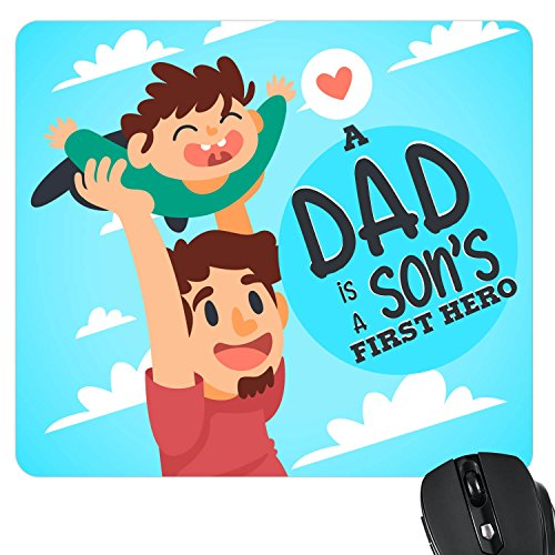 Yaya Cafe Fathers Day Gifts from Son, Dad is Sons First Hero Printed Mouse Pad for Dad