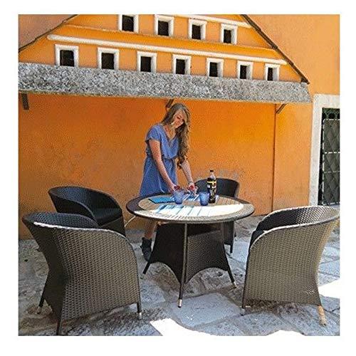 Non applicabile Set de Table Rond rotin Table Ronde + chaises Meubles extérieur Hector
