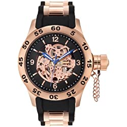 Rougois Rose Gold Automatic Skeleton Dial Diver Watch with Black Band
