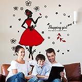 Japace® Adhesivo Mural Extraíble, Diseño de Chicas y Mariposas Pegatinas de Pared para Bebe Dormitorios