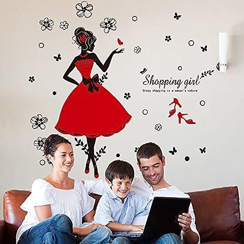 Japace® Adhesivo Mural Extraíble, Diseño de Chicas y Mariposas Pegatinas de Pared para Bebe