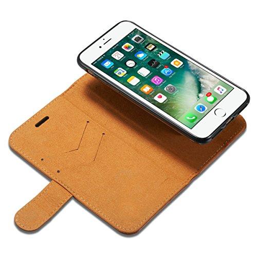 Handyhülle für Apple iPhone 7 4.7 Zoll aufklappbare Hülle Book Style Hardcase Cover in Leder-Optik verschließbare Handy Schutzhülle Gelb