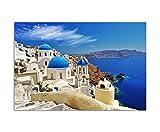 Stampa fotografica su tela con telaio, elegante e moderna, con motivo della cattedrale di Santorini, le case e la vista sul mare, quadro per decorazioni, 120 x 80 cm