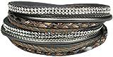 Mevina Damen Strass Armband Wickelarmband Leder viele Farben Magnetverschluss Reptil Look Grau A1157