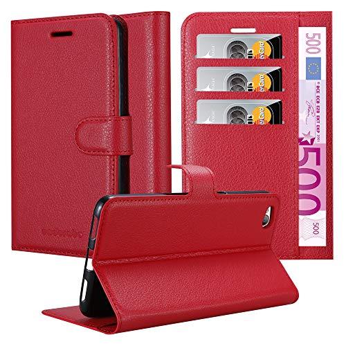 Cadorabo Hülle für ZTE Nubia N2 - Hülle in Karmin ROT - Handyhülle mit Kartenfach & Standfunktion - Case Cover Schutzhülle Etui Tasche Book Klapp Style