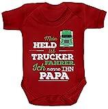 Geschenk zum Vatertag LKW Fahrer Strampler Bio Baumwoll Baby Body kurzarm Jungen Mädchen Papa - Mein Held ist Trucker Fahrer, Größe: 3-6 Monate,Red