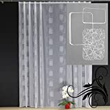 EASYHomefashion Hochwertige Fertiggardine - VOILE Store mit Motiv STICKEREI - Faltenband&Bleiband »NAGO« versch. Größen, 160 x 450 cm (HöhexBreite)