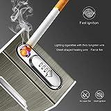Yosemy Étui à Cigarettes avec Briquet en Aluminium Électronique Boîte à Cigarettes Porte-Cigarettes pour Femme Homme, Noir
