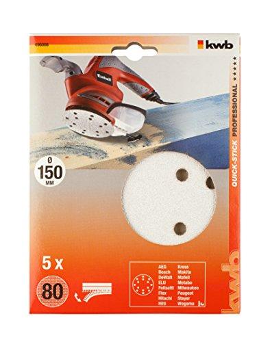 KWB Quick-Stick Schleifscheiben, Holz und Lack, selbsthaftend, Durchmesser 150 mm, 4960-08