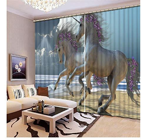 rhänge Pferd 3D Vorhänge Blackout Für Wohnzimmer Kinder Schlafzimmer Stoff 215X320Cm ()