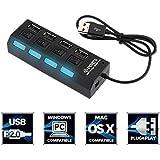 ECart MAXICOM Hi-Speed 4 Port USB 3.0 Hub With Individual Power Switches & Led Light Support (Black)