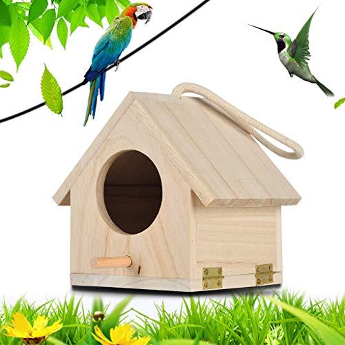 Hukz Hölzerne Vogel Nistkasten Bausatz, Einflugloch zum Aufhängen, Groß Vogelhaus Vogelhäuschen Bird House Für Meise Wellensittiche Rotkehlchen Nymphensittich Rotschwänzchen by