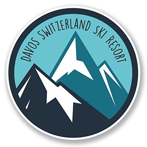 Preisvergleich Produktbild 2x Davos Schweiz Ski Snowboard Resort Vinyl Aufkleber Aufkleber Laptop Reise Gepäck Auto Ipad Schild Fun # 6442 - 10cm/100mm Wide
