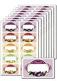 80 etichette rimovibili autoadesive, con motivi fruttati, stampabili per i vasetti di conserve