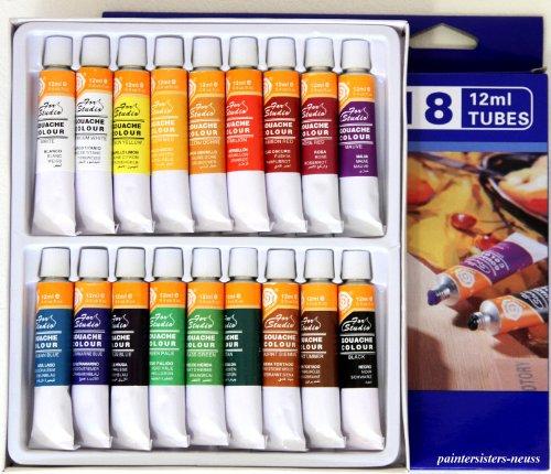 GOUACHE Farbset mit 36 Tuben - zwei Sets je 18 Farben