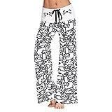 Mujeres Pantalones Anchosde Pierna Largo Cintura Media Pantalón Suave de Algodón Microelástico Cordón Adjustable Estampado de Gato, Blanco, L