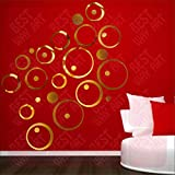 BEST DECOR 30 Circle Ring And Dots Golden(Pack Of 30)Acrylic Sticker, 3D Acrylic Sticker, 3D Mirror, 3D Acrylic Wall Sticker, 3D Acrylic Stickers For Wall, 3D Acrylic Mirror Stickers For Living Room, Bedroom, Kids Room, 3D Acrylic Mural For Home & Off