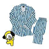 KPOP BTS Bangtan Jungen BT21 Jung JOOK Cartoon Version Jimin V Same Harajuku Pyjama Langarm Nachthemd Mann Frau Bedgown,Hellblau,S