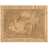 Islas Bernera Escocia : Classic Cars - CABLE 812 sello 1936 / hoja de oro / perforado . Valor nominal £ 12 / 1987 / Bernera / MNH