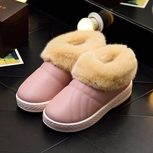 DogHaccd pantofole,Inverno pelle pu di spessore, antiscivolo soggiorno impermeabile home scarpe di cotone uomini e donne paio di pantofole di cotone confezione con scarpe di peluche Solido toner a colori3