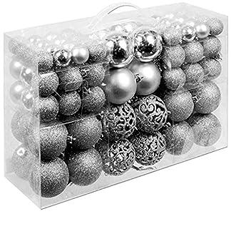 Tefamore Bolas de Navidad (100 pcs) Xmas Bolas brillas Elegantes de Adorno de Decoracion de Arbol Chucherias de Navidad de Color Plata