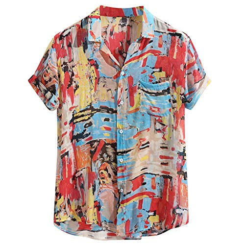 ODRD Herren Print Hawaii Beach T Shirts, Oversize Cool 100% Baumwolle Handsome Shortsleeve Urlaub Beach Halsband umlegen Vintage Jugend T-Shirt Blouse Tops Basic Shirt -