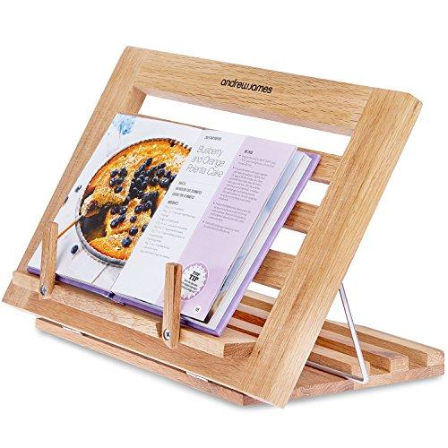 Andrew James Zusammenklappbarer, Einstellbarer Kochbuchhalter/ Tablet- und Kochbuchständer aus massivem Eichenholz - 2 Jahre Garantie