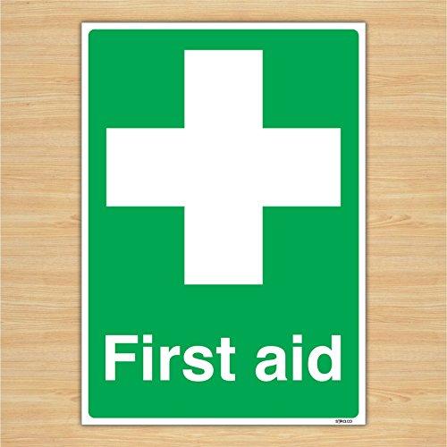 Britischen Standard Erste Hilfe Schild Sicherheit Aufkleber–Erste Hilfe,–Durch Lichtschalter CO, plastik, 210mm x 297mm A4