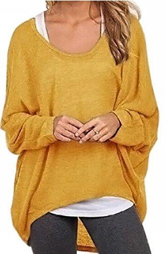 Meyison Damen Lose Asymmetrisch Sweatshirt Pullover Bluse Oberteile Oversized Tops T-Shirt Gelb XL