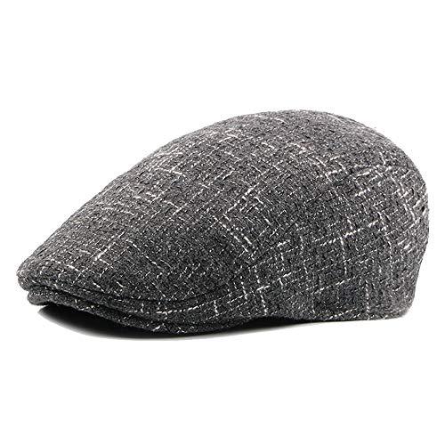 GOLDT1 Männer Winter Warm Flat Top Hat Zeitung Thick Tweed Ivy Ivy Gatsby Englisch Duck Lips Irish Hat Beret  (Color : 1, Size : Free Size) Tweed Ivy Hat