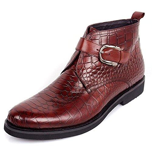 Herbst Winter Männer Leder Stiefel Geschäft Krokodil Muster Formal Schnalle Beiläufig Braun Größe 38-44 , brown , 40 (Krokodil Cowboy Stiefel)
