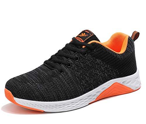 AX BOXING Herren Sportschuhe Damen Laufschuhe Sneaker Atmungsaktiv Leichte Wanderschuhe Trainers Schuhe Größe 36-46 (38 EU, Schwarz/orange)