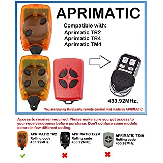 APRIMATIC TR2, TR4, TM4 Compatible Remote Control Rolling Code 433.92MHz.