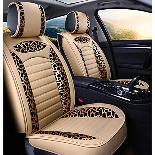 MALLTY Animal Print Universal Vier Jahreszeiten Autositzbezüge 5 Sitze Komplettsatz, Airbag Kompatibel Automotive Sitzkissen (Farbe : Beige1) (Animal-print Sitzkissen)