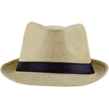 V-SOL Sombrero Amarillo Paja De Lino Verano Playa Gorro Para Mujer Hombre Unisex