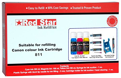 Red Star ink refill kit for Canon 811 color cartridge ( 3 x 100ml color ink, 3 syringes with blunt tip needles, cartridge head cleaning tool)  available at amazon for Rs.525