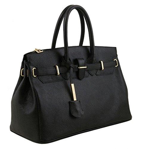 Tuscany Leather TL Bag Borsa a mano media con accessori oro Nero Nero