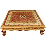 Udaipuri Handicrafts Made Wooden Chowki Or Bajot Pooja Article Handmade Puja Handicraft for Home Decor Pooja Gift Item [ 14 inch)