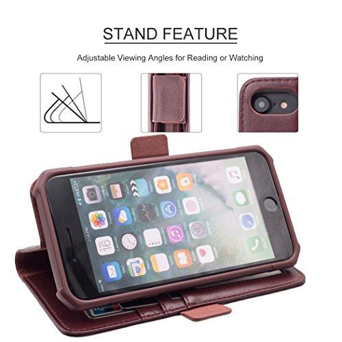 iPhone 8 /7 /6s/6 Portefeuille Cuir Cas[Détachable 2 dans 1 Couverture], Resee Carte Titulaire Cas, protection RFID, Choc Absorption Difficile Couvertures - Noir 4.7 pouces Vin Rouge