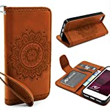 URCOVER Mandala Pattern Case Wallet | Apple iPhone SE / 5 / 5s | Flip Cover Simil cuir in Marron | Peau Coque Portefeuille Clapet Stand Rabat Élegant Étui Protection Portable
