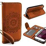 Urcover® Apple iPhone SE / 5 / 5s Handy Schutz-Hülle | Lotus Pattern Wallet Braun | Kartenfach & Standfunktion | Flip Case | Trendy Tasche | Cover Schale | Smartphone Zubehör