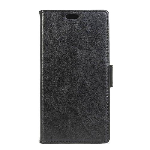 Sunrive Hülle Für LG Q Stylus Plus/Q Stylus, Magnetisch Schaltfläche Ledertasche Schutzhülle Case Handyhülle Schalen Handy Tasche Lederhülle(Crazy-Pferd schwarz 1)+Gratis Universal Eingabestift
