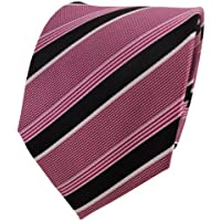 TigerTie Cravatta in seta - rosso-viola nero bianco striato - Cravatta in seta