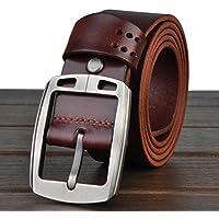 """HOMBRES cinturones estilo Retro cuero cuero de grano completo 100% correa de cuero para los hombres con un puncher de agujero del cinturón bono Metal ancho de 1,4"""" todos tamaños Ideal de Navidad para hombres lp2013021 , light brown"""