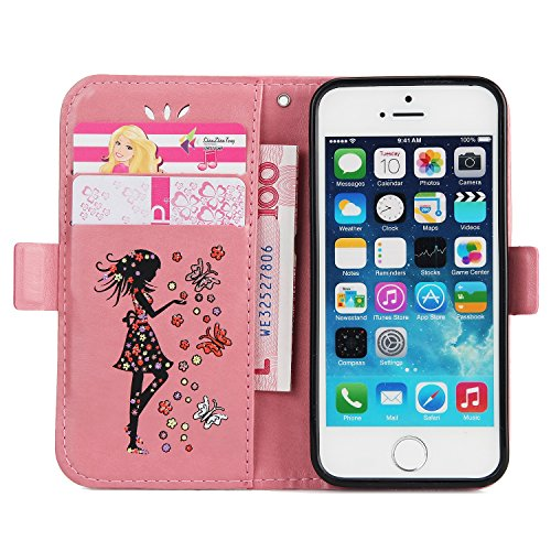 EKINHUI Case Cover Fairy Girl & Flowers Embossing Pattern PU Ledertasche Horizontale Flip Stand Brieftasche Tasche mit Lanyard & Card Slots für iPhone 5 & 5s & SE ( Color : Green ) Pink