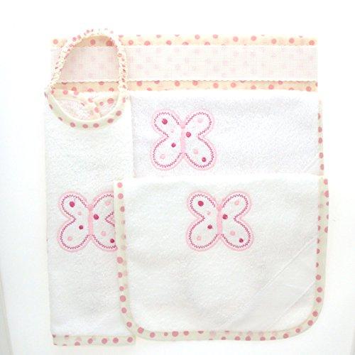 Coccole- Set asilo tela aida 'farfalla rosa' - 4 pezzi: 2 bavaglini, 1 asciugamano e 1 sacca - rosa - 3 mesi - 5 anni da ricamare con tela aida