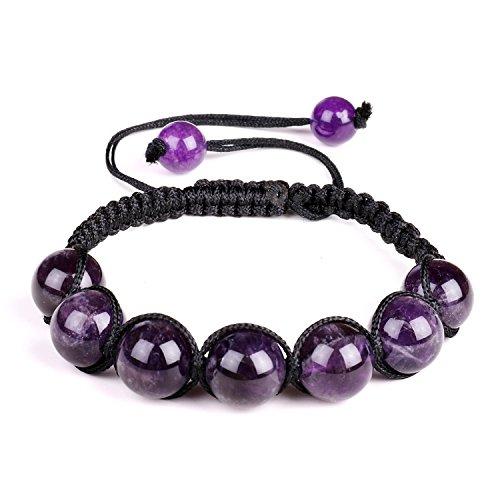 10mm Perlen Amethyst Stein Armband Damen Herren Einstellbare Armband Geflochtenen Seil Naturstein Yoga Perlen Armreif